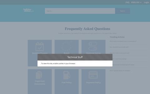 Screenshot of FAQ Page holidayautos.com - Manage Booking | Holiday Autos - captured July 21, 2019
