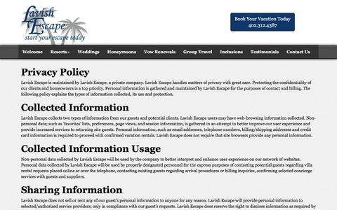 Screenshot of Privacy Page lavishescape.com - Privacy Policy | Lavish Escape Travel Agency | Nebraska - captured May 15, 2017