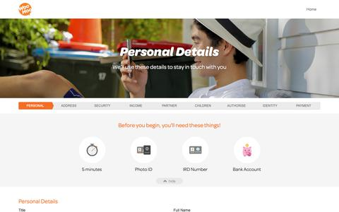 Screenshot of Signup Page nztaxrefunds.co.nz - Personal Details | Application | NZ Tax Refunds - captured Oct. 18, 2018