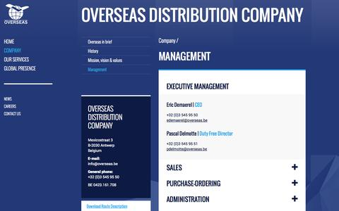 Screenshot of Team Page overseas.be - Management | Overseas Distribution Company - captured Oct. 7, 2014
