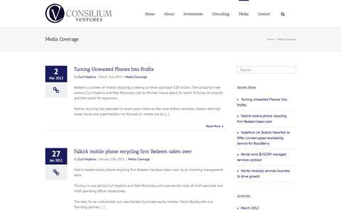 Screenshot of Press Page consiliumventures.com - Media - Consilium Ventures - captured Nov. 2, 2014