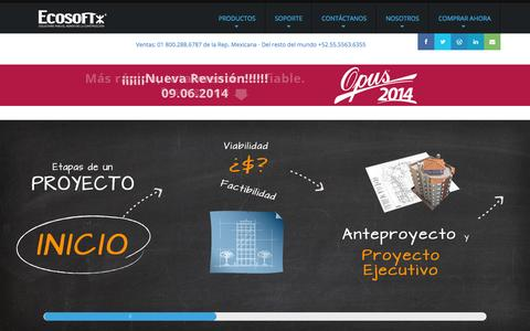Screenshot of Home Page ecosoft.com.mx - ECOSOFT. Soluciones para el mundo de la construcción   ECOSOFT - captured Sept. 19, 2014
