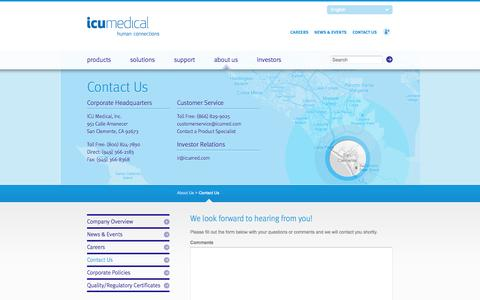 Screenshot of Contact Page icumed.com - Contact Us | ICU Medical - Human Connections - captured Sept. 25, 2014