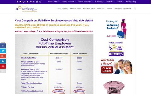 Screenshot of vanetworking.com - Cost Comparison: Full-Time Employee versus Virtual Assistant (VA) - captured Sept. 3, 2016
