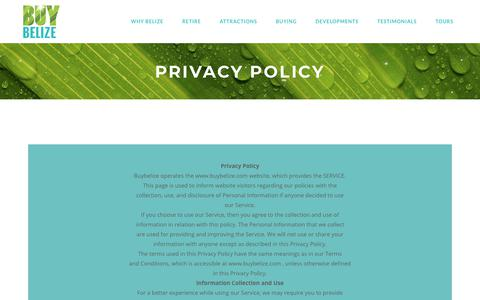 Screenshot of Privacy Page buybelize.com - Buy Belize |   Privacy Policy - captured Oct. 19, 2018