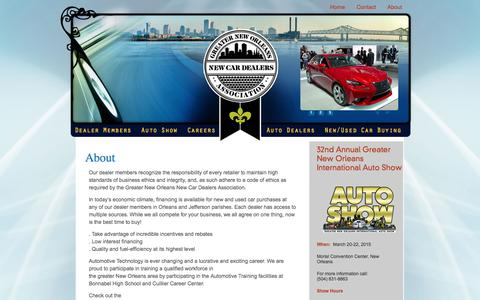 Screenshot of About Page neworleansauto.com - Greater New Orleans New Car Dealers Association | Greater New Orleans New Car Dealers Association - captured Oct. 3, 2014