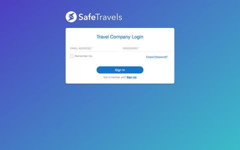 Screenshot of Signup Page Login Page safetravels.com - Safetravels - captured July 25, 2018