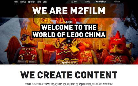 Screenshot of Home Page m2film.dk - M2Film   Film company in Aarhus, Copenhagen and Bangkok - captured Oct. 9, 2015