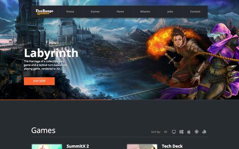 Screenshot of Home Page freerangegames.com - Free Range Games - captured Sept. 30, 2014