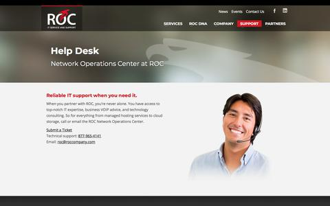 Screenshot of Support Page roccompany.com - IT Support and IT Services in Milwaukee and Green Bay   ROC Help Desk   ROC - captured Nov. 12, 2017