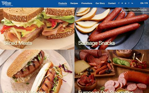 Screenshot of Products Page pillers.com - Piller's Fine Foods - captured Jan. 28, 2016