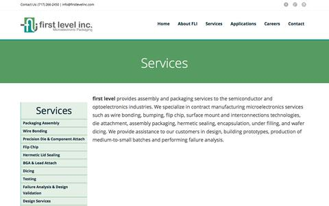 Screenshot of Services Page firstlevelinc.com - first level inc - Services - captured Sept. 6, 2018