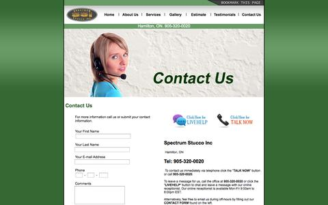 Screenshot of Contact Page spectrumstucco.ca - Spectrum Stucco Inc  - Stucco Services Hamilton - captured Oct. 3, 2014