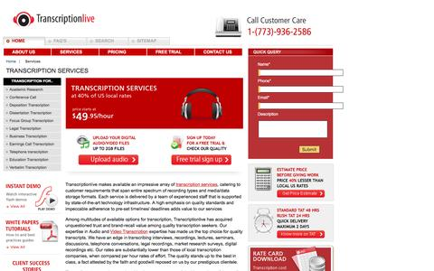 Screenshot of Services Page transcriptionlive.com - Transcription services   transcribing   interviews   recordings   audio-to-text   production   audio   mp3   video   companies - captured Dec. 3, 2016