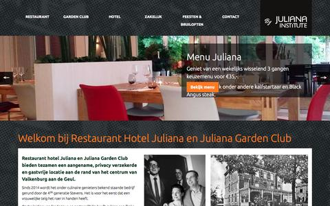 Screenshot of Home Page juliana.nl - Juliana Institute Valkenburg | Hotel | Restaurant | Gardenclub | Academy | Drinken, eten, overnachten - Valkenburg, Zuid Limburg - captured Aug. 6, 2015