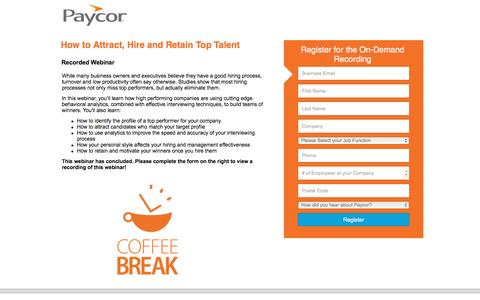 Screenshot of Landing Page paycor.com - How to Attract, Hire and Retain Top Talent - captured Aug. 19, 2016