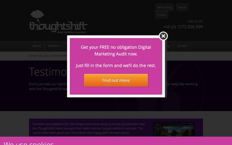 Screenshot of Testimonials Page thoughtshift.co.uk - Digital Marketing Testimonials & Reviews for ThoughtShift - captured Sept. 23, 2018
