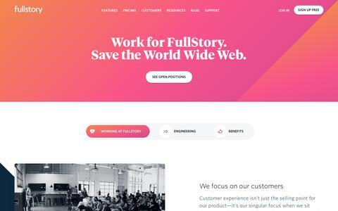 Screenshot of Jobs Page fullstory.com - Jobs   FullStory - captured Sept. 19, 2018