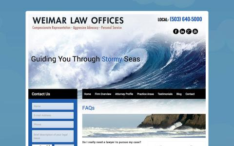 Screenshot of FAQ Page weimarlaw.com - Personal Injury FAQs - captured Oct. 10, 2014