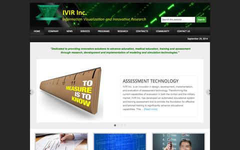 Screenshot of Home Page ivirinc.com - IVIR Inc. — Information Visualization and Innovative Research - captured Sept. 30, 2014