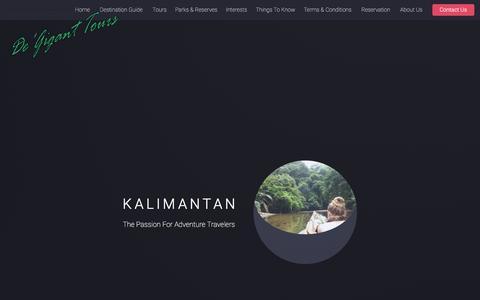 Screenshot of Home Page borneotourgigant.com - Kalimantan Tours | wildlife safari | Orangutan Trips | Dayak culture | Jungle Treks | Indonesia Borneo tour guide - captured Sept. 26, 2018