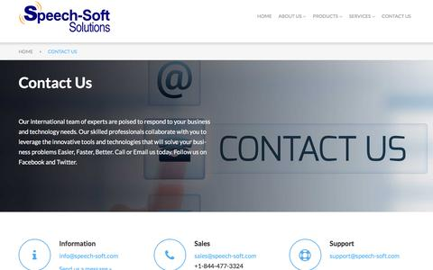 Screenshot of Contact Page speech-soft.com - Speech-Soft - Contact Us - captured Dec. 21, 2016