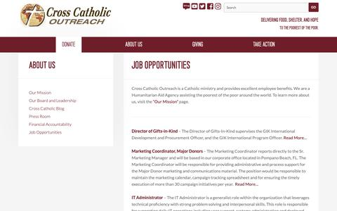Screenshot of Jobs Page crosscatholic.org - Job Opportunities — Cross Catholic Outreach - captured Dec. 16, 2018