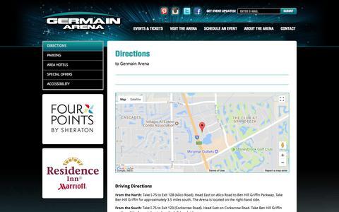 Screenshot of Maps & Directions Page germainarena.com - Directions - Germain Arena - captured Oct. 16, 2017