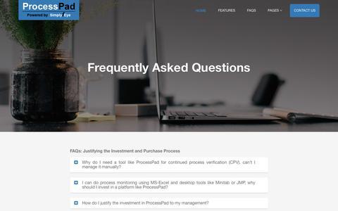 Screenshot of FAQ Page simplyfeye.com - ProcessPad - captured June 13, 2017