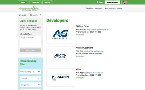 Screenshot of Developers Page greenbuildinginfo.eu - Green office building developers - captured Oct. 1, 2018