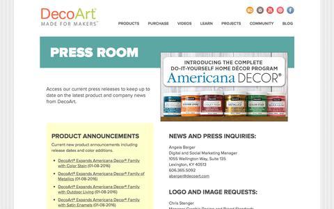 Screenshot of Press Page decoart.com - DecoArt - Press Releases - captured Aug. 6, 2018