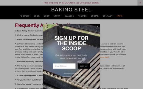 Screenshot of FAQ Page bakingsteel.com - FAQ's | Baking Steel - captured June 19, 2019