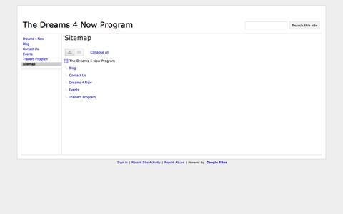 Screenshot of Site Map Page dreams4now.com - Sitemap - The Dreams 4 Now Program - captured Sept. 30, 2014