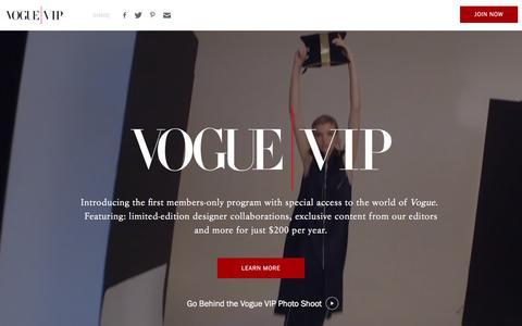 Screenshot of Landing Page vogue.com - Vogue VIP - captured Oct. 18, 2016
