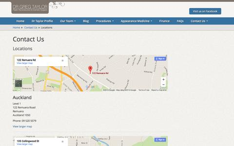 Screenshot of Locations Page drgregtaylor.co.nz - Dr Greg Taylor | Breast Augmentation | Eyelid Surgery| Facelift | Liposuction | Plastic Cosmetic Surgeon, Locations - captured June 16, 2016