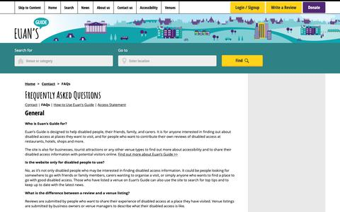 Screenshot of FAQ Page euansguide.com - Frequently asked questions regarding Euan's Guide - captured Sept. 29, 2018