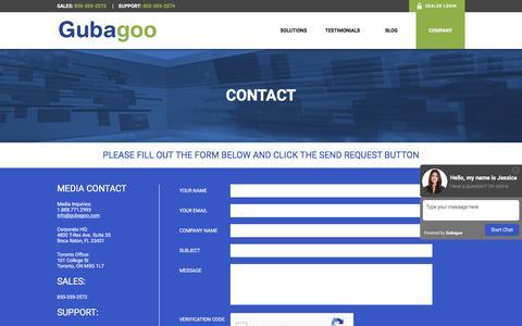 Screenshot of Contact Page gubagoo.com - Contact - Gubagoo.com - captured Dec. 31, 2016
