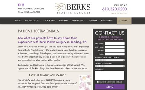 Screenshot of Testimonials Page berksplasticsurgery.com - Patient Testimonials | Reading PA | Berks Plastic Surgery | Dr. Reedy - captured Aug. 1, 2018