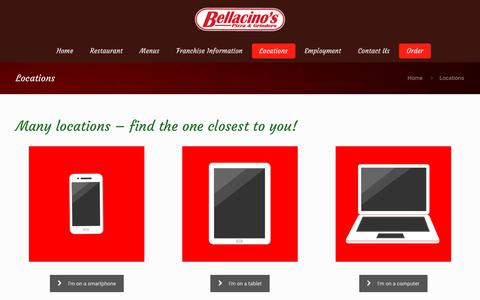 Screenshot of Locations Page bellacinosgrinders.com - Locations – Bellacino's Grinders - captured July 5, 2018
