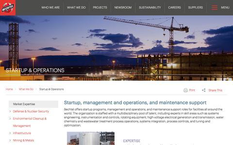 Startup Operations & Management Services - Bechtel