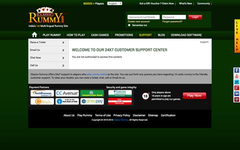 Screenshot of Support Page classicrummy.com - Classic Rummy 24x7 Support – Play 13 Cards Rummy, Online Rummy - captured Sept. 18, 2014