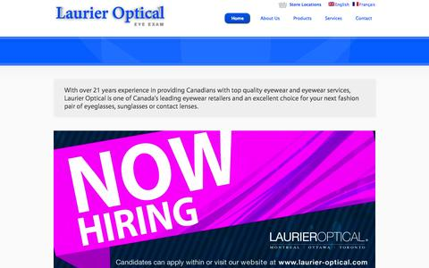 Screenshot of Home Page laurier-optical.com - Laurier Optical Ottawa/Montreal/Toronto - Eyeglasses, Sunglasses and Contact lenses - Eye Exams at all Locations - captured Sept. 29, 2014