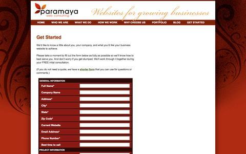 Screenshot of Signup Page paramaya.net - Get Started - Paramaya Web Consulting - captured Oct. 1, 2014