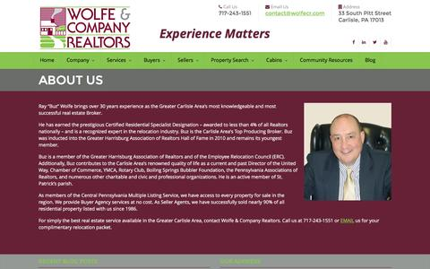 Screenshot of About Page wolfecr.com - About Us | Wolfe & Company Realtors – Carlisle Real Estate Listings in PA - captured Feb. 17, 2016