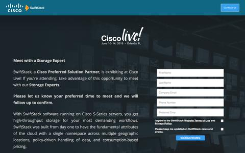 Screenshot of Landing Page swiftstack.com - Cisco Live - captured Sept. 21, 2018