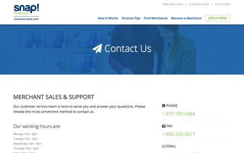 Contact Merchant Sales & Support - SnapFinance