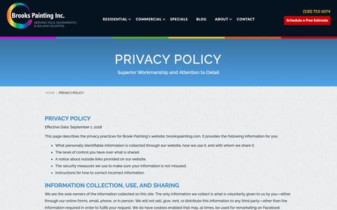 Screenshot of Privacy Page brookspainting.com - Privacy Policy - Brooks Painting - captured Oct. 6, 2018