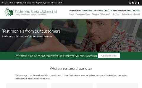 Screenshot of Testimonials Page equipmentrentals.co.uk - Photocopiers, Printers, Scanners & Fax Hire Reviews - captured Aug. 15, 2017