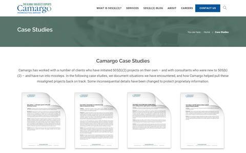 Screenshot of Case Studies Page camargopharma.com - 505(b)(2) Case Studies   Camargo - captured July 12, 2017