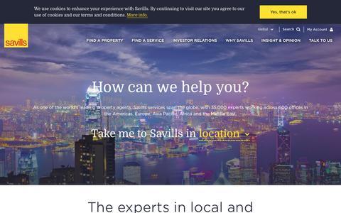Screenshot of Home Page savills.com - Savills | Global Property Experts - captured Nov. 7, 2018